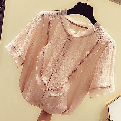 初色  甜美蕾絲雪紡衫-共3色-(M-XL可選)