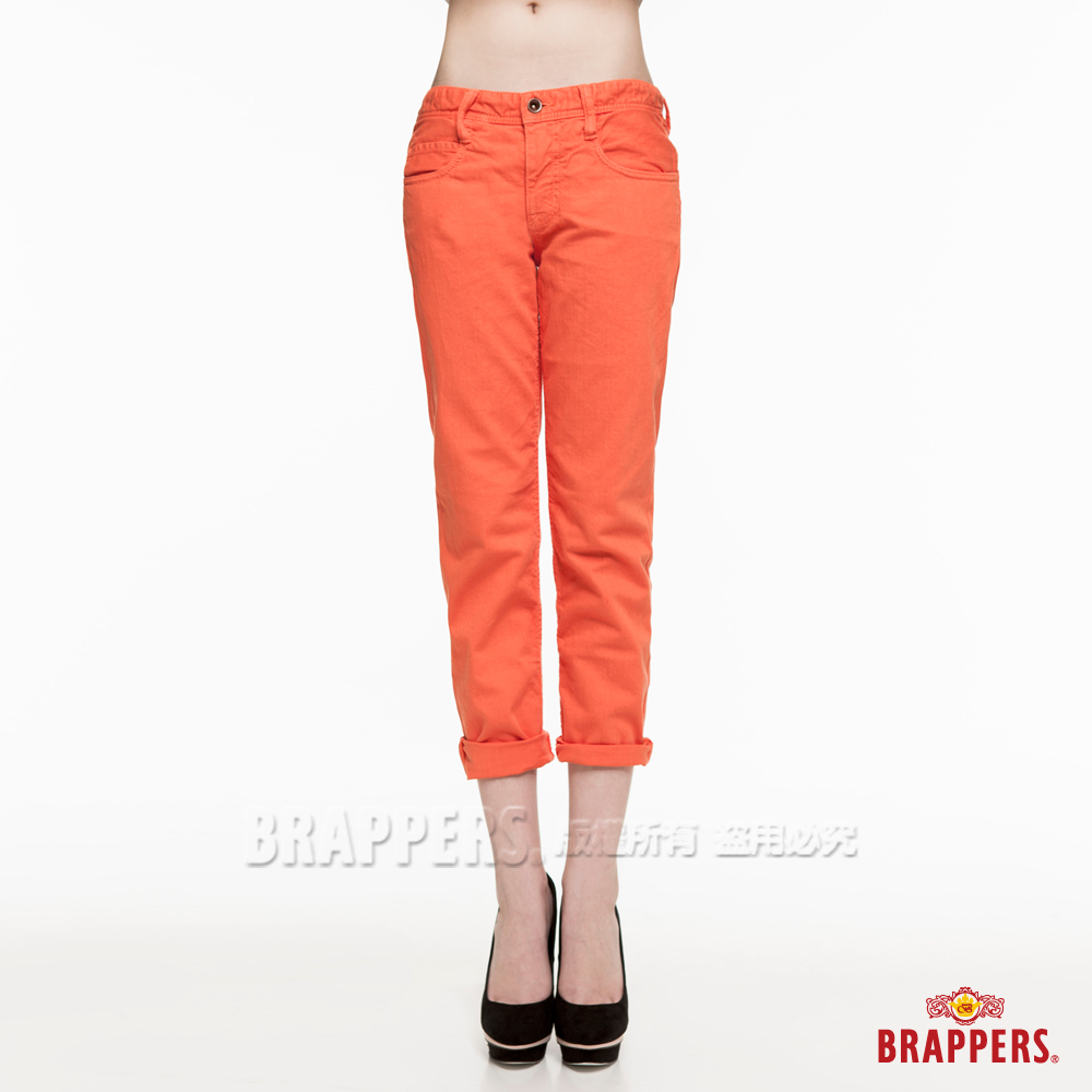 BRAPPERS 女款BoyFriendCargo系列-女用八分反摺褲-橘