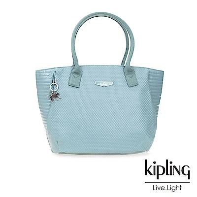 Kipling 天使藍壓紋梯形肩背包-IMOR