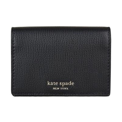 Kate Spade Sylvia金字LOGO荔枝紋牛皮3卡對折釦式卡片鑰匙零錢包(黑)