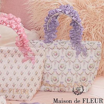 Maison de FLEUR 花卉印花蝴蝶結手提包