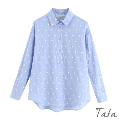 刺繡點點排扣襯衫 共二色 TATA-(L/XL)