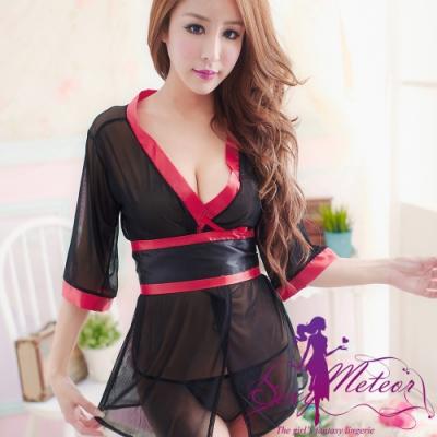 罩衫睡衣 全尺碼 紗質緞面和服二件式性感睡衣組(迷戀黑) Sexy Meteor