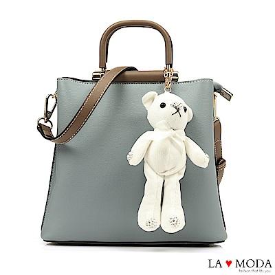 La Moda 注目度極高~小熊水鑽公仔娃娃配飾大容量肩背手提方包(藍)