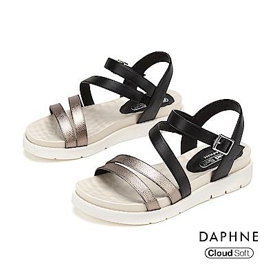 達芙妮DAPHNE 涼鞋-撞色鏤空條帶舒適休閒厚底涼鞋-愓色