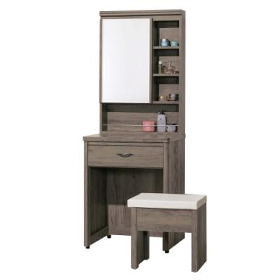 文創集 奈爾時尚2尺開合式鏡台/化妝台組合(含化妝椅)-90x45x76cm免組