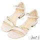 Ann'S對妳著迷-軟金屬V型顯瘦低跟方頭涼鞋-米白 product thumbnail 1