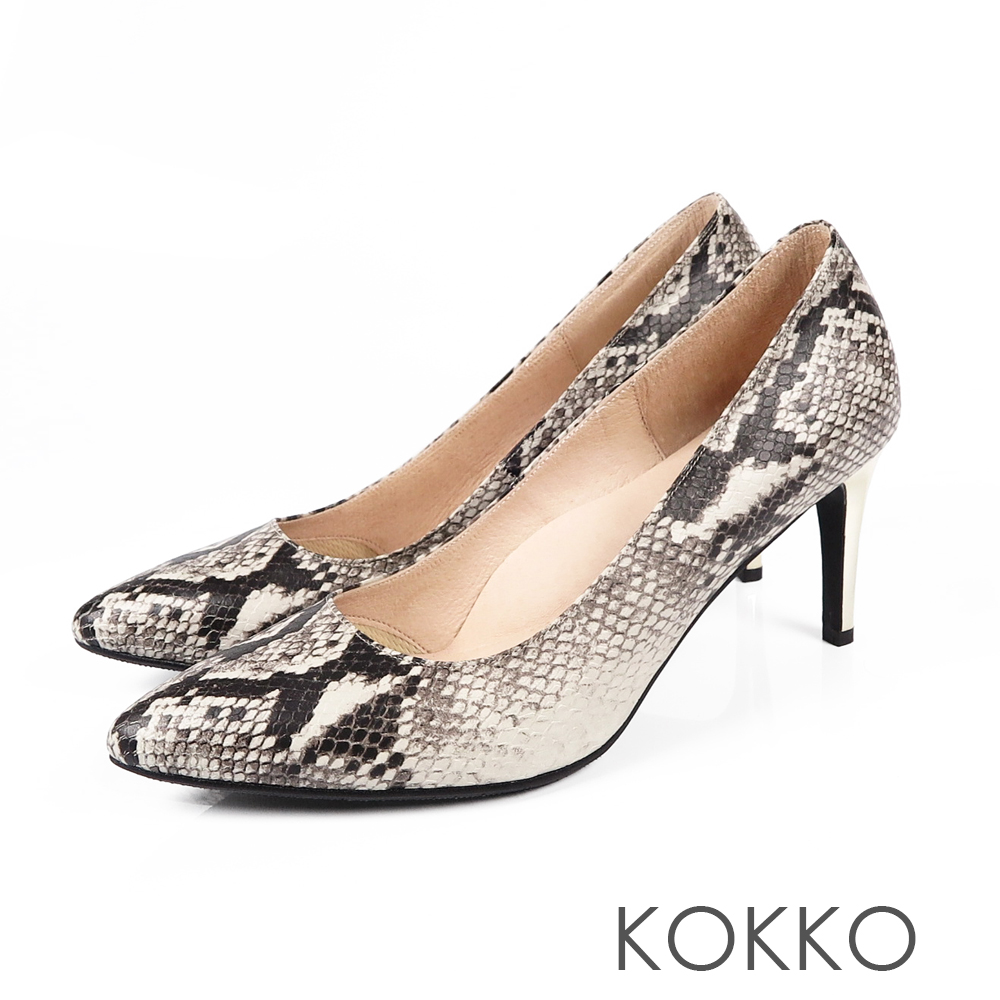 KOKKO - 皇后高貴品格真皮尖頭高跟鞋-蛇紋灰