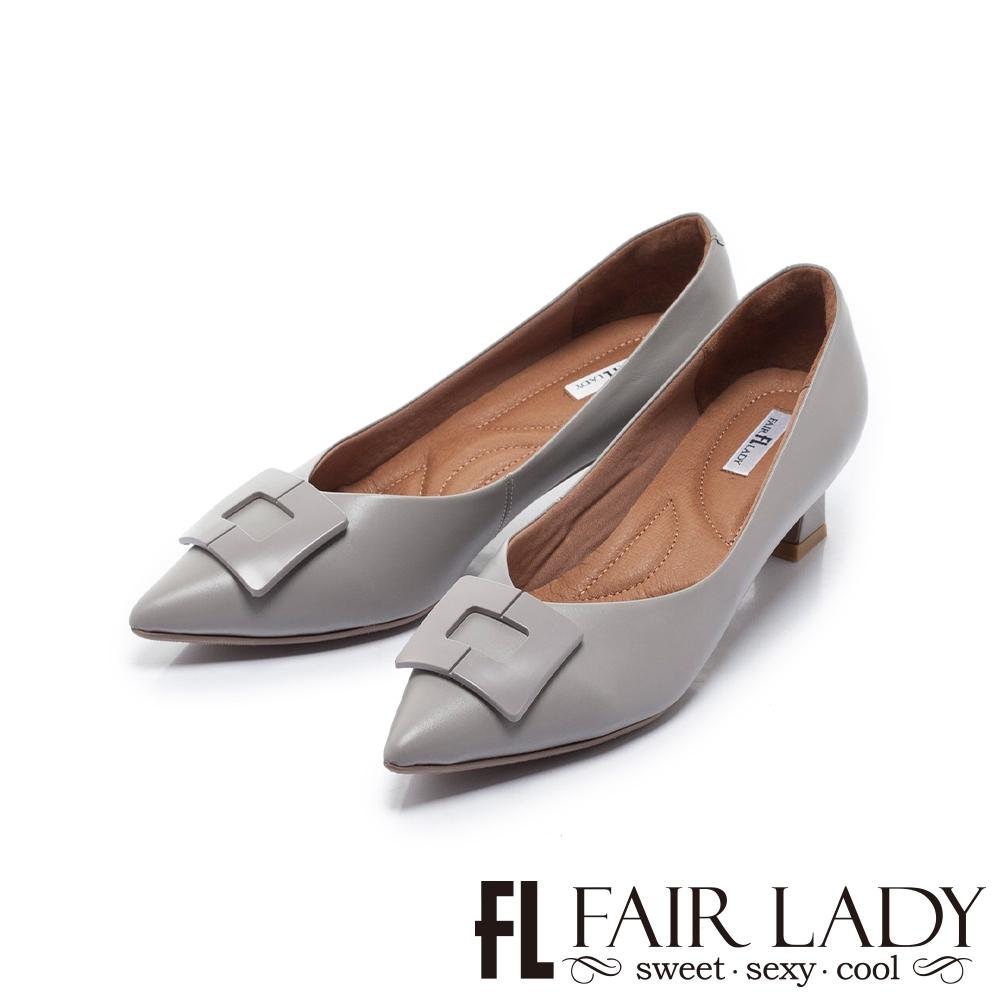 FAIR LADY 芯太軟 方型飾釦尖頭低跟鞋 岩灰