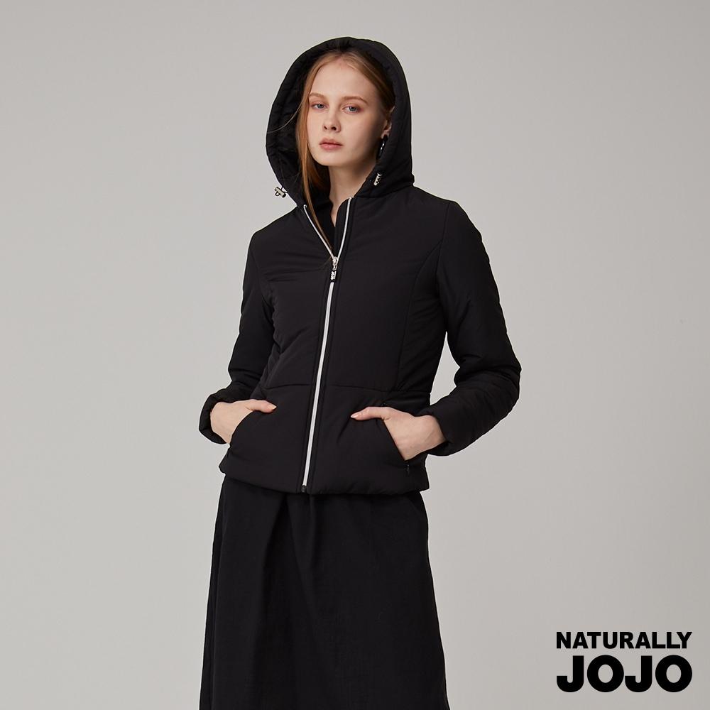 【NATURALLY JOJO】 修身鋪棉連帽外套(黑)