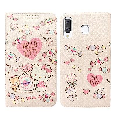 Hello Kitty貓 Samsung A8 Star 粉嫩系列彩繪磁力皮套(...