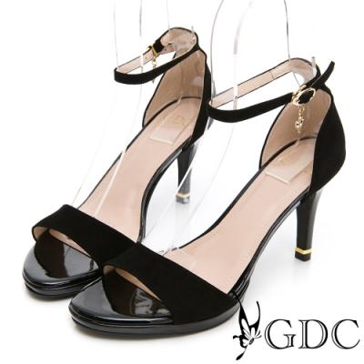 GDC-優雅LADY羊絨一字後包素色中高跟涼鞋-黑色