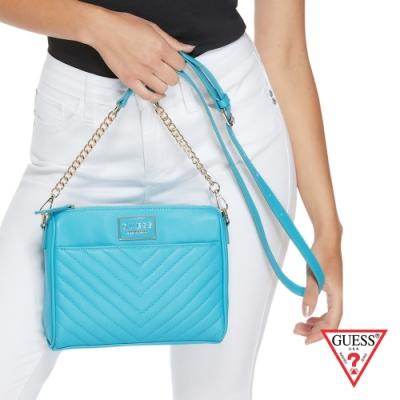 GUESS-女包-簡約皮革壓紋鍊條方包-藍 原價2490