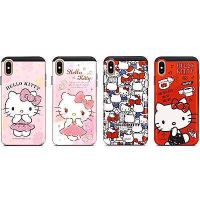 GARMMA Hello Kitty iPhone X/XS 插卡式滑蓋防摔殼