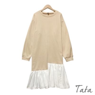 不規則拼接荷葉雪紡洋裝 共二色 TATA-F