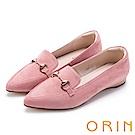 ORIN 經典復古 氣質馬蹄扣百搭樂福平底鞋-粉紅