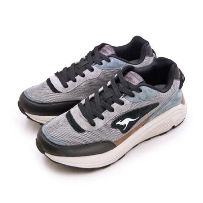 KangaROOS 經典撞色都會復古慢跑鞋 BLAZE藍標老爹鞋系列 灰黑藍 91156