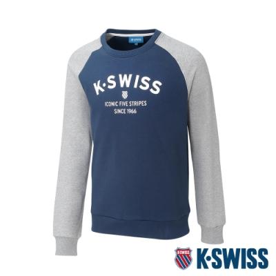 K-SWISS Curve KS Logo 圓領長袖上衣-男-深藍/淺灰