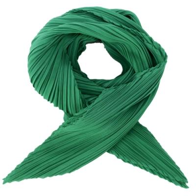 ISSEY MIYAKE 三宅一生 PLEATS PLEASE 四摺素面斜紋圍巾(綠)