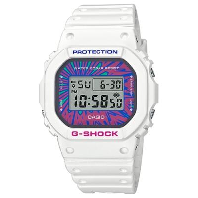 CASIO 卡西歐 G-SHOCK 繽紛撞色手錶DW-5600DN-7-白x多彩/48.9mm