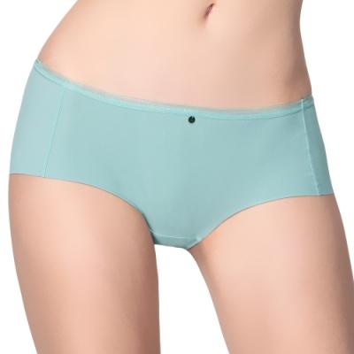 思薇爾 嗨Q Bra系列M-XL素面無痕低腰平口內褲(翠石綠)