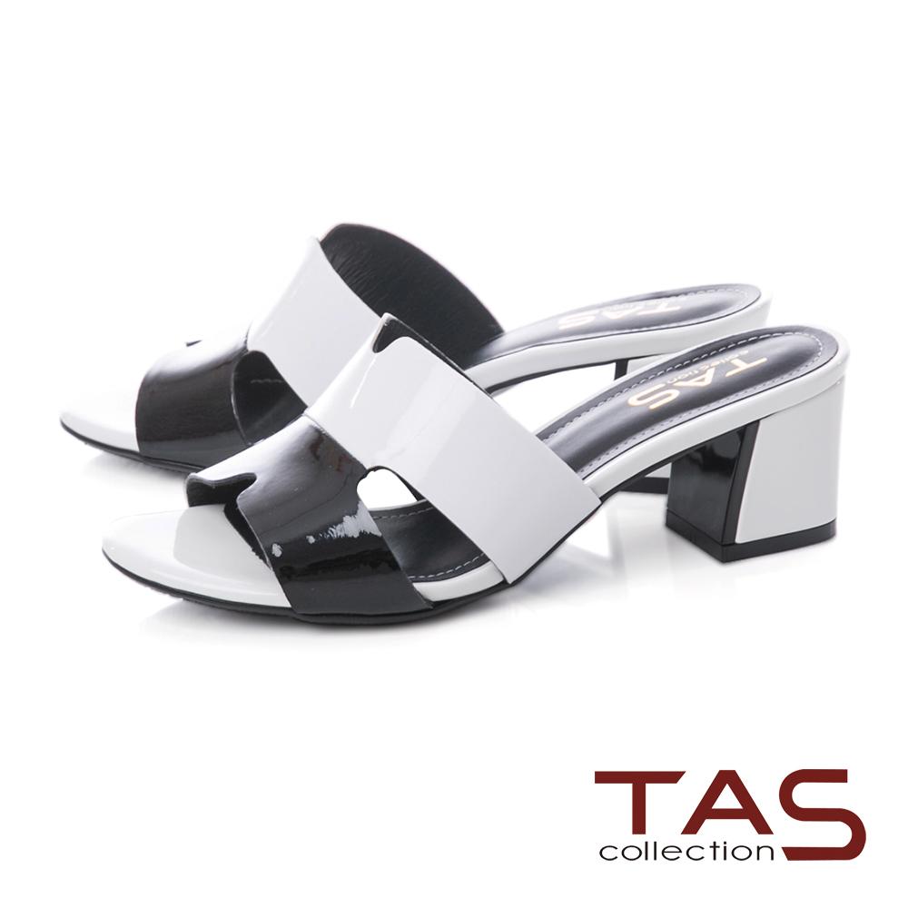 TAS 撞色T字鏤空低跟涼拖鞋-經典白