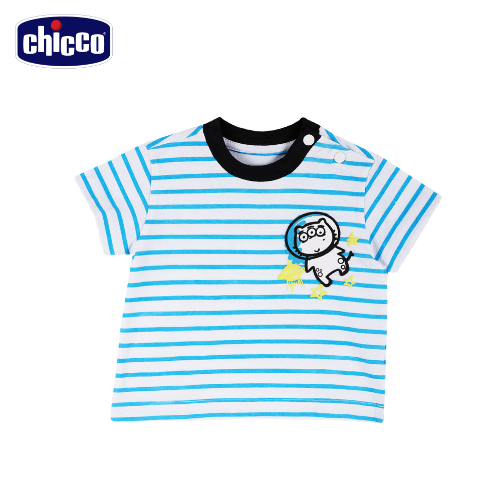 chicco-To Be Baby-條紋短袖上衣-藍