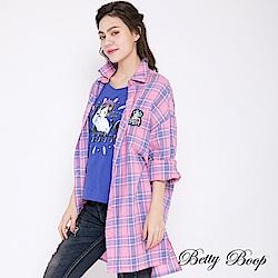Betty Boop貝蒂 落肩撞色格紋長版襯衫(共兩色)