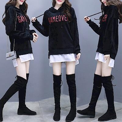 DABI 韓國學院風金絲絨連帽套頭寬松長袖上衣 @ Y!購物