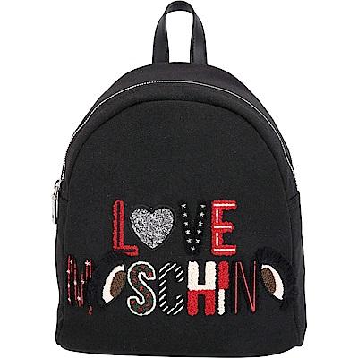 LOVE MOSCHINO Canvas 小型羊毛感字母拼貼後背包(黑色)