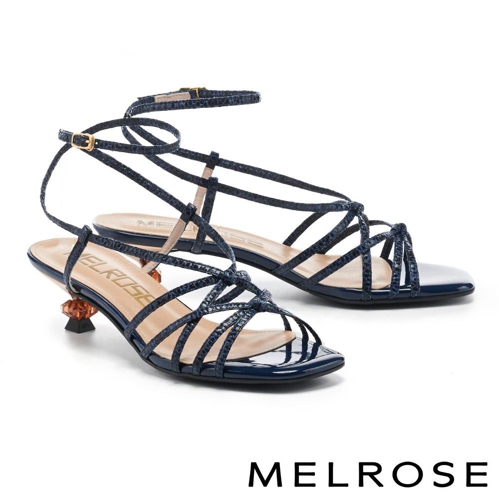 涼鞋 MELROSE 時髦魅力交叉細帶方頭高跟涼鞋-藍