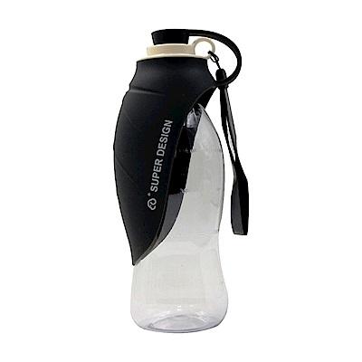 摩達客-Super SD Pets寵物樹葉折疊餵水器/600ml水壺(灰黑色)