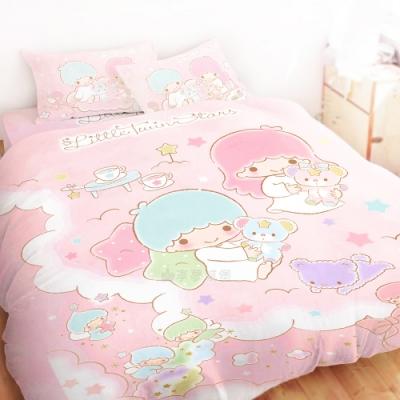 享夢城堡 精梳棉雙人床包兩用被套四件組-雙星仙子Little Twin Stars 小熊扮家家-粉