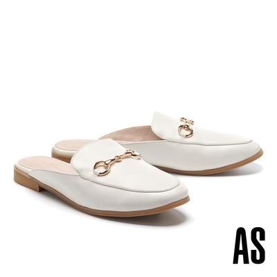穆勒鞋 AS 復刻經典時尚馬銜釦羊皮低跟穆勒拖鞋-白