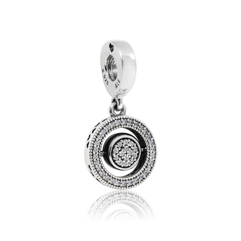 Pandora 潘朵拉 浮動雙面翻轉魅力 垂墜純銀墜飾 串珠