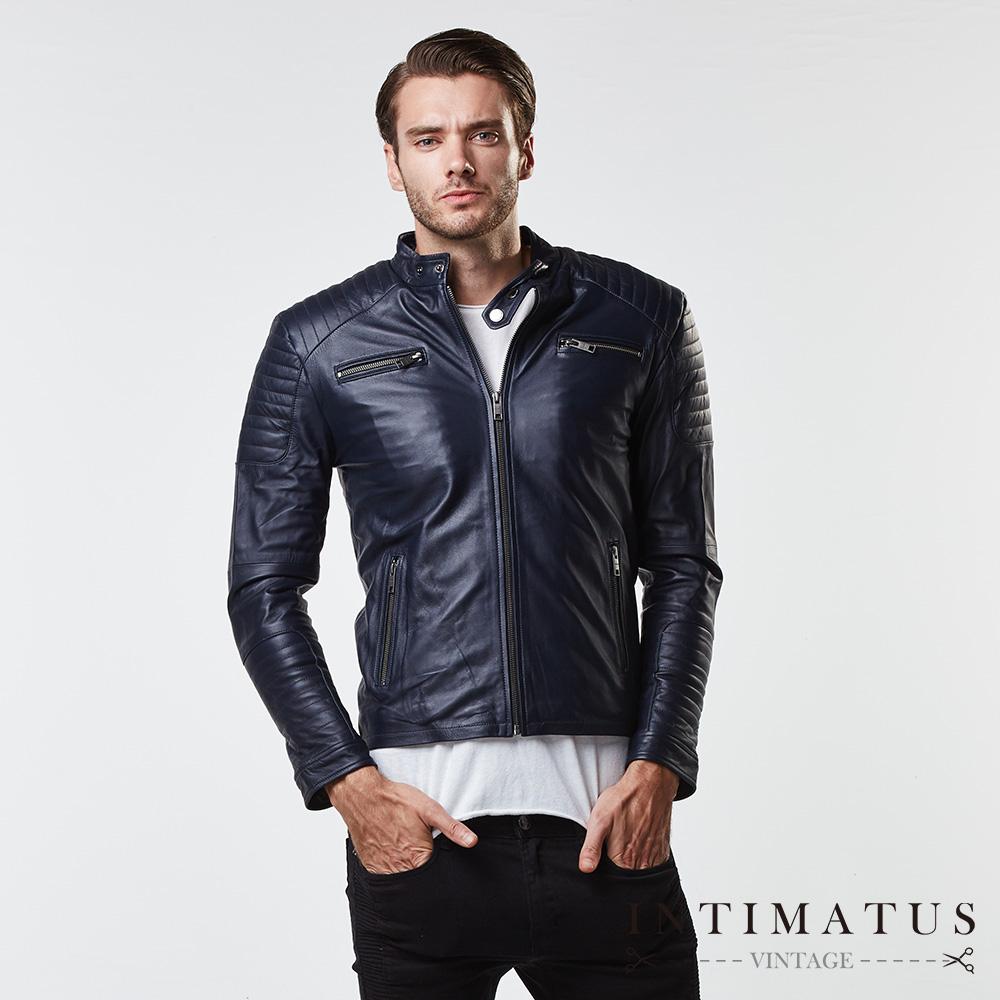 INTIMATUS 真皮 騎士風立體剪裁格紋設計小羊皮皮衣 酷勁深藍