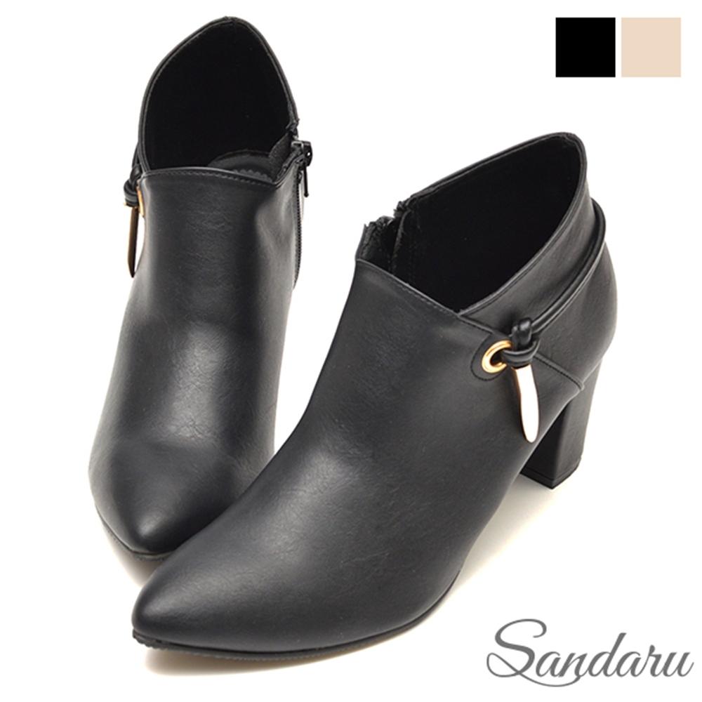 山打努SANDARU-裸靴 優雅美型側掛飾高跟靴-黑