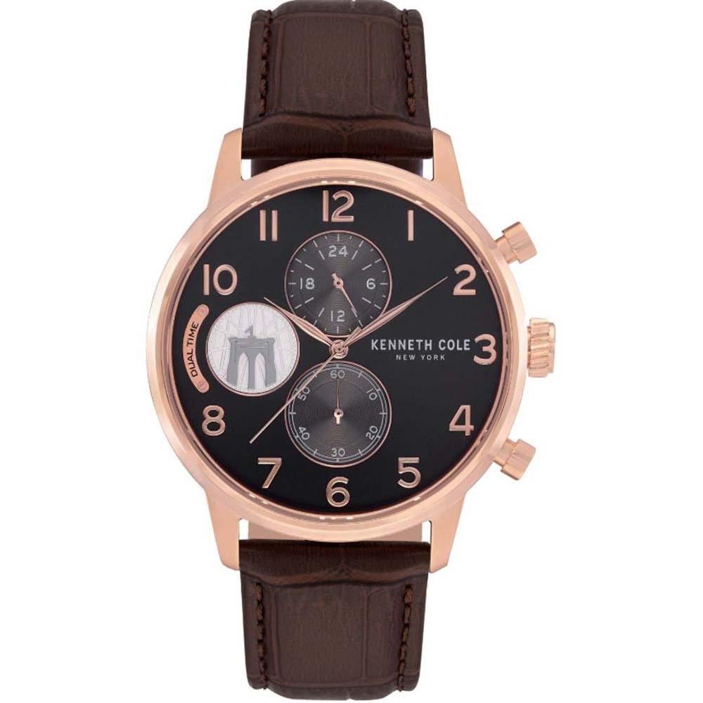 KENNETH COLE KC51019002 雙眼計時 真皮錶帶 黑金時尚搭配 可可色