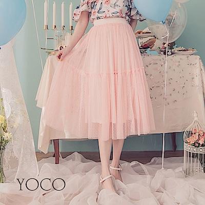 東京著衣-YOCO  浪漫花語優雅層次拼接網紗中長裙-XS.S