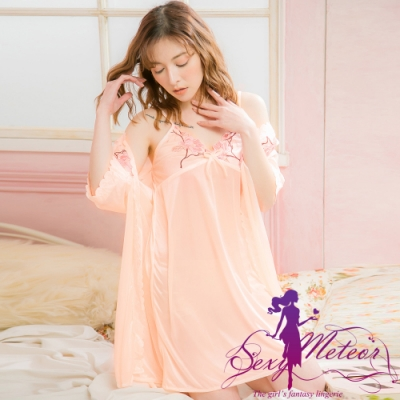 睡衣 全尺碼 V領網紗冰絲睡裙罩衫二件式睡衣組(夢幻淺桔) Sexy Meteor
