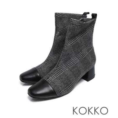 KOKKO -再見倫敦拼接方頭粗跟窄筒靴- 格紋黑