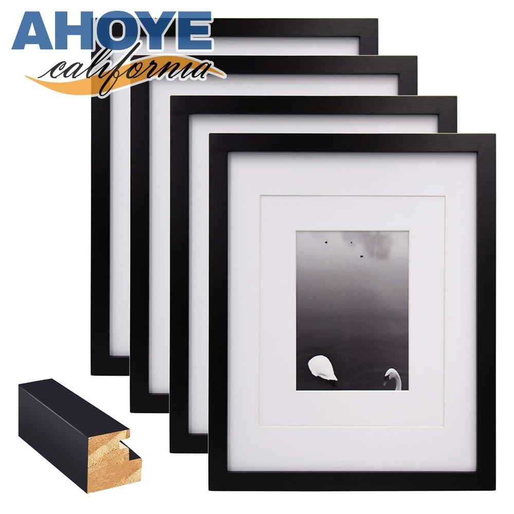 AHOYE 4X6簡約松木相框 黑色 4入組