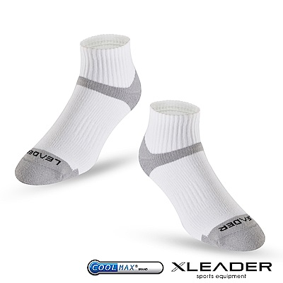 LEADER ST-06 Coolmax專業排汗除臭 機能運動襪 男款 白灰 - 急