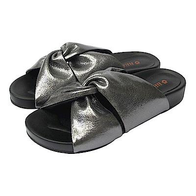BESO  愜意舒適  蝴蝶雙扭結休閒涼拖鞋~灰