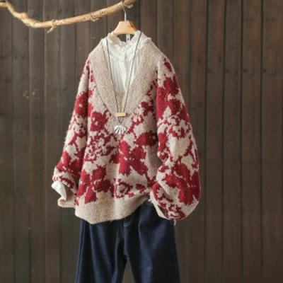 提花V領毛衣寬鬆外穿針織衫上衣毛衫-設計所在