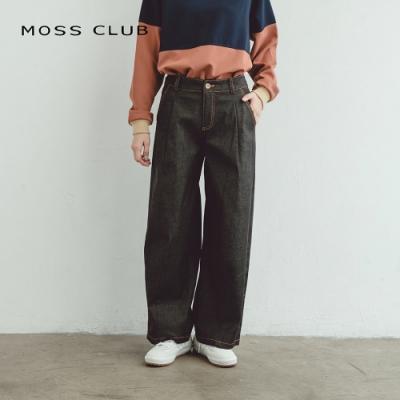 【MOSS CLUB】日系寬襬丹寧-長褲(黑色)