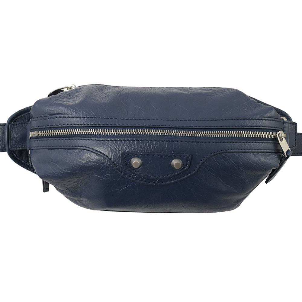 BALENCIAGA 銀釦小羊皮時尚腰包/胸口包(深藍)