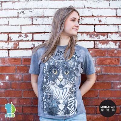 摩達客-美國進口The Mountain 花紋凝視貓 純棉環保藝術中性短袖T恤