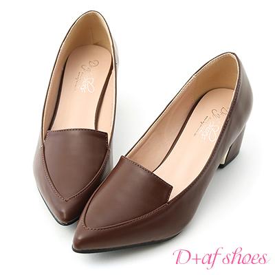 D+AF 知性風格.素面金屬跟尖頭跟鞋*咖