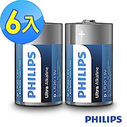 【PHILIPS飛利浦】1號超鹼電池( 6顆 )